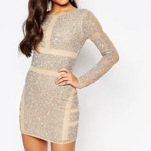 Missguided premium panelled embellished mini dres